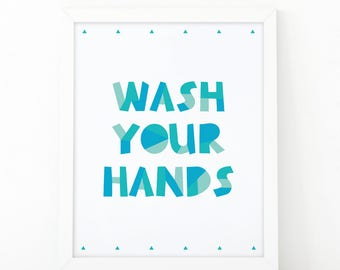 Wash your hands, Art for Kids, Nursery wall art, Digital Download, Toilet Sign, nursery, Bathroom Print, Nursery Print, Educational print
