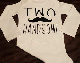 Two Handsome, Second Birthday, Mustache Birthday, TWO, Boys Birthday - Super Cute Onesie or Tee