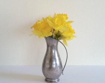 Royal Holland Pewter Pitcher Vase, Vintage Royal Holland Pitcher, Rose Gold Industrial Chic Decor, Flower Vase, Vintage Metal Vase