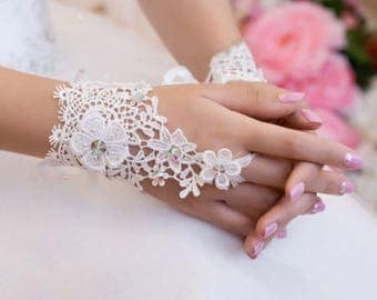 Gorgeous pair of customizable wedding Lace Gloves
