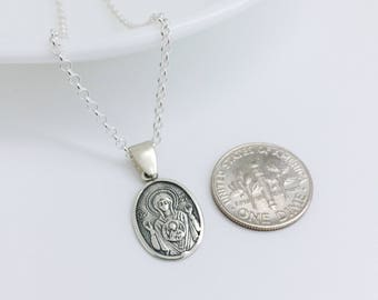 Theotokos, Mother of God, Sterling Silver Solid 925, God-Bearer Pendant, Russian Orthodox, Religious Necklace, Catholic Icon, Virgin Mary