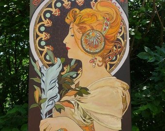 Feather - Painting Acrylic - Artwork Picture - Reproduction - Alfons Mucha - by Christine CIBOIS French Artist