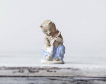 Rare 60s USSR Soviet Porcelain Figurine Bear With Balalaika