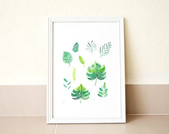 Tropical leaves print, Leaves illustration, Plant art print, Aesthetic art print, Watercolour art print