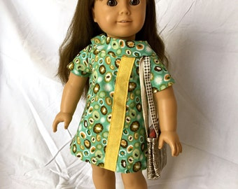 1960s Doll Dress 18 Inch Doll Clothes, AG Doll Clothes, 18 Inch Doll Dress, AG Doll 1960s Mod Dress, Handmade Dress for American Girl Doll