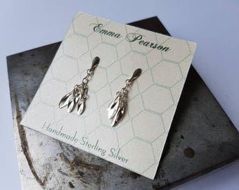 Sterling silver Leaf Drop Chandelier Earrings