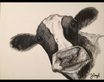 "Cow canvas painting print - ""Pearl"""