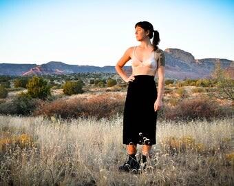 90s Vintage Skirt, Black Velvet Skirt, Gothic Skirt, Sheer Black Skirt, Minimalist Skirt, High Waisted Velvet Skirt, Velvet A Line Skirt