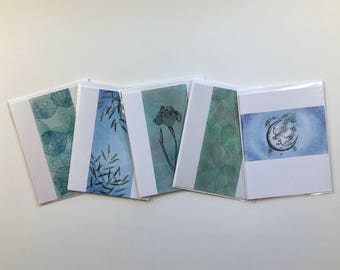 SALE! Set of 5 blank cards, original artwork, not reproductions: A2, fine cards, notecards, SKU BLA2SET3
