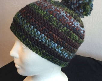 Crocheted Chunky Hat, Multi-Colored, Blue, Brown, Green