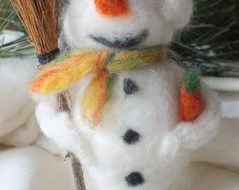 Snow man made of felt