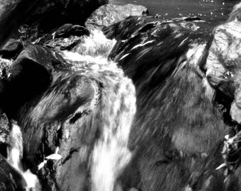 Black and White Waterfall Print
