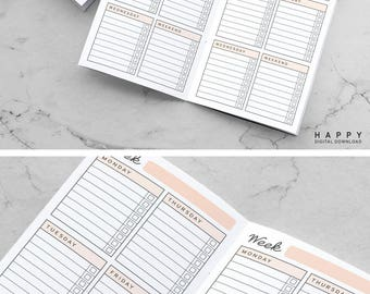 Printable Weekly To Do List Traveler's Notebook Inserts, Midori To Do Inserts, Printable Midori Notebook To Do list inserts, PDF file