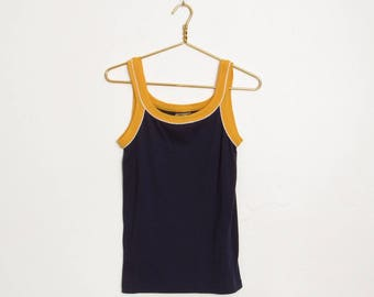 Vintage Sears Sportswear Tank Top / Navy Blue and Yellow Sleeveless Athletic Shirt