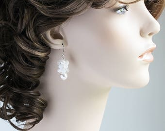 White Beaded Cluster Earrings with Pearls on Silver Plated Hooks