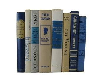 Country Home Decor, Vintage Beige Blue Decorative Books,  old books , vintage book bundle , photo prop , wedding decor , vintage book set