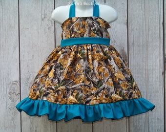 CAMO Halter Dress / Realtree AT + Teal / Flower Girl / Pageant / Wedding / Bridesmaid/ Infant/ Baby/ Girl/ Toddler/ Custom Boutique Clothing