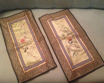 Vintage CHINESE Silk Handmade Embroidered Oriental Bird/ Flowers Rectangle Textile Linens Panels Asian Decor A Pair