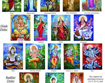 Christian, Hindu, and Buddhist Religious Deity Laminated Cards  Featuring Jesus, Krishna, Buddha, Kwan Yin and More...