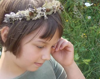 Woodland Fairy Crown, Lichen Crown with Twigs, Moss, and Cones, Forest Crown, Forest Fairy Headband, Elf Headpiece, Wood Elf Crown C04