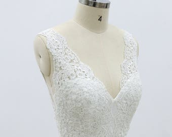 A line Full lace wedding dress  with sexy deep plunging neckline