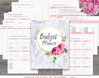 Budget Planner Printable, Monthly Household Budget Form, Financial Planning, Family Money Tracker, Debt Paydown, Editable Instant Download