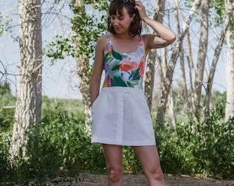 Beverly Hills Mini Skirt || Vintage Lilys of Beverly Hills - 70s Mini Skirt - Vintage ButtonUp Skirt - 70s Button Front Skirt - Tennis Skirt