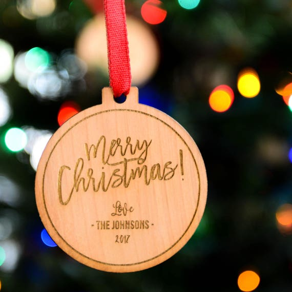 Personalized Wood Ornament - Custom 3 Lines - Merry Christmas Design - Stocking Stuffer - Holiday Gift for Family, Employees, Clients