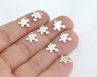10mm Silver Plated Puzzle Charms, Puzzle Necklace , Mini Puzzle Charms, Puzzle  Jewelry, AG60