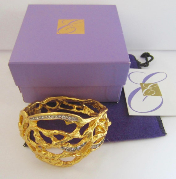 Elizabeth Taylor signed gold vine & crystal hinged/clamper Bracelet for Avon with original box ~vintage costume jewelry