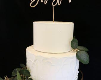 Custom Calligraphy Mr and Mrs Wedding Cake Topper-Gold