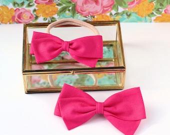 Hot Pink Hair Bows - Baby Hair Bows - Hair bows For Girls