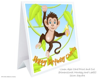Monkey Birthday Card. Childrens Birthday Card. Personalised  3D Monkey. 1st Birthday Card. 2nd 3rd 4th 5th Birthday Card. Kids Birthday Card