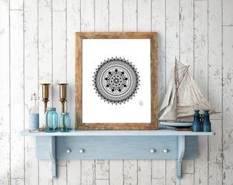 Mandala Digital Drawing, Digital Print, Decoration, Mandala Poster, Art Print, Meditation, Mandala Art, Yoga, Zen Art