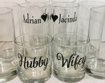 Custom 16 Piece Glassware Set - Hubby & Wifey Set + Couples Name Set. Wedding gifts, Engagement gifts, personalized glassware
