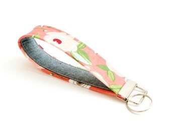 Cute Floral Key Fob - Coral with Black Chambray Lining - 5 In. - Key Chain - Wristlet Loop - Short Lanyard Strap - Tassel Key Ring