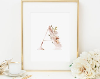 Ethereal Initial Printable Letter A Woodland Nursery Monogram Print Nursery Letters Initial Print Blush Initial Wall Art Floral Initial Art