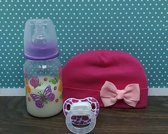 Reborn Accessories for a Girl, 3 Piece Set, Reborn Fake Faux Milk Bottle, Magnetic Pacifier  Putty Pacifier, Reborn Baby Girl, Likelike Baby