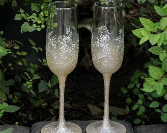 Wedding Champagne Flutes Lace, Wedding Flutes, Toasting Flutes, Wedding Glasses for Bride and Groom, Toasting Glasses, Wedding set, Hochzeit