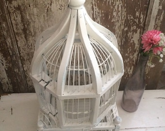 Beautiful Old Vintage White Wooden Birdcage