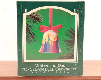 Vintage/New Hallmark 1986 Mother and Dad Porcelain Bell Ornament.