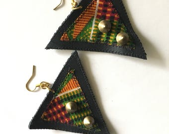 Kente Cloth and Black Leather Couture Triangle Earrings