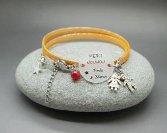 """bracelet orange cabochon """"Merci Nounou"""" + prénom étoile garçon fille personnalisable - babysitter gift"""