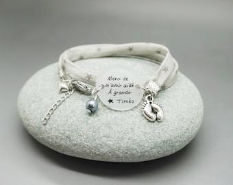 """bracelet beige à pois cabochon """"Super Nounou"""" + prénom enfant - cadeau personnalisable - bracelet personalized"""