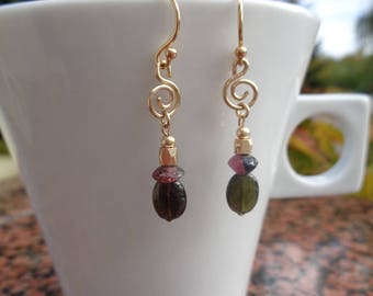 Gold earring with tourmaline, 585 gold filled