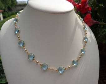 Gemstone chain, 585 gold filled, with hydro blue Topas