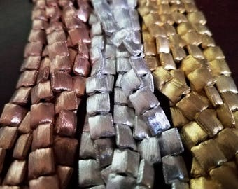 Square Bali Pillow Beads-Brushed Sterling, Copper, Gold , Gunmetal – Artisan Jewelry Supply Jewelry Findings