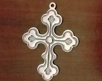 Sterling Fleur de lis Cross Charm Pendant,  925 Religious Jewelry Finding Charm