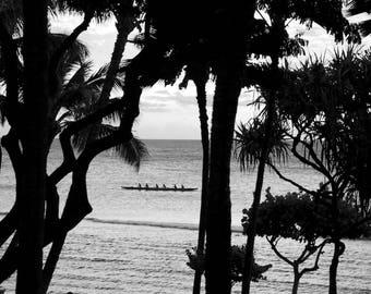 Ocean Kayak Palm Trees Maui Hawaii Beach Fine Art Photography Rowing Boat Tropical Island Life Bay Travel