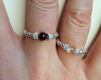 Sterling Silver Garnet stretch ring - January Birthstone jewellery - Chakra Healing gift